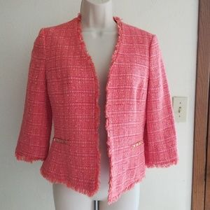 Vince Camuto Orange Tweed Open Front Blazer EUC